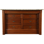 Kitchen Island Counter, 1890 Antique Walnut & Cherry, Granite Top