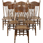 Set of 6 Victorian Antique 1900 Pressback Dining Chairs, Ash & Maple