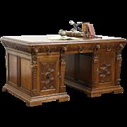 Renaissance Design Lion Carved Oak Library Desk, Holland 1910 Antique