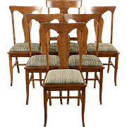 Set of 6 Quarter Sawn Oak Antique 1905 Dining Chairs, New Upholstery