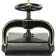 Cast Iron 1900 Antique Bookbinder Book Press with Wheel & Screw