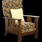 Arts & Crafts Mission Oak Craftsman Antique Recliner Chair & Footstool
