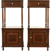 French Pair of 1890 Antique Walnut Nightstands or End Tables, Marble Tops