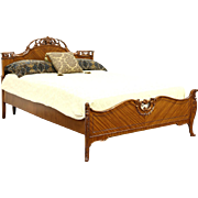 French Style Carved Satinwood 1940 Vintage Full or Double Size Bed