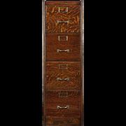 Quartersawn Oak 1910 Antique 4 Drawer File Cabinet, Signed Wagemaker, MI