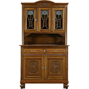 Oak Scandinavian 1910 Antique Sideboard & China Cabinet, Stained Glass Doors