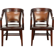 Pair of Antique 1915 Mahogany Banker Office or Library Chairs, Leather Backs