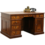Victorian Eastlake 1880 Antique Walnut Library Desk, Leather Top