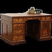 Victorian Eastlake 1880 Antique Walnut Library Desk, Leather Top