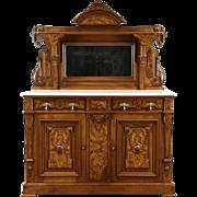 Victorian Renaissance 1875 Antique Sideboard Buffet Server, Marble Top & Mirror