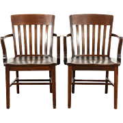 Pair of Antique 1910 Banker, Office or Library Chairs, Quartersawn Oak