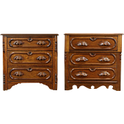 Pair Victorian Antique Carved Walnut Small Chests, End Tables or Nighstands
