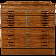 Stacking Oak 15 Drawer Vintage Map or Artist Document File, Lift Top