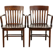 Pair of Antique 1910 Quartersawn Oak Banker, Office or Library Chairs