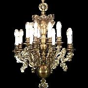 Two Tier Vintage Chandelier, Dark Brass, 16 Candles