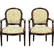 Pair Carved Mahogany French Style Vintage Mahogany Chairs, New Upholstery