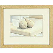 Still Life with Two Pears, Original Watercolor Painting, Signed Bruce Bodden