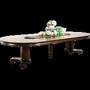 "Round 54"" Quarter Sawn Oak 1900 Antique Pedestal Dining Table, Extends 10 1/2'"