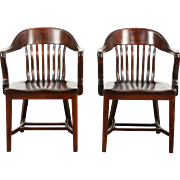 Pair of 1910 Antique Birch Hardwood Banker, Desk or Office Chairs No. 4