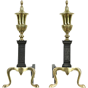 Pair Vintage Brass & Iron Fireplace Andirons