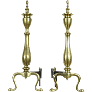 Pair of Traditional Brass Fireplace Andirons, Iron Log Rests