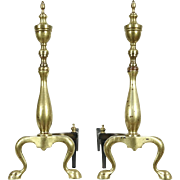 Pair of Brass Traditional Fireplace Andirons, Iron Log Rests