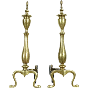 Pair of Brass Traditional Fireplace Andirons, Cast Iron Log Rests