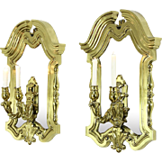 Pair of Brass Architectural Double Wall Sconces
