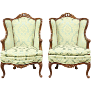 Pair of Carved 1940's Vintage Wing Chairs, Down Cushions, New Upholstery