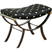 Curved Saddle Shape Bench, Black Nickel & Brass Finish,