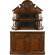 Victorian Grape Carved Oak Antique 1870 Sideboard, Server or Buffet, Marble Top