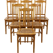 Set of 6 Oak Antique 1915 Dining Chairs, Caned Seats