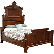 Victorian Renaissance 1880 Antique Carved Walnut & Burl Queen Size  Bed