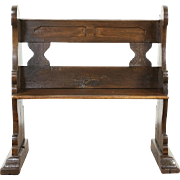 Oak late 1700's Antique Carved German Pew or Hall Bench
