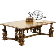 Designer Coffee Table, Jester & Griffin Carved Sculpture Base, Tooled Leather