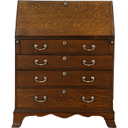 English Oak 1900 Antique Secretary Desk, Tooled Leather Top
