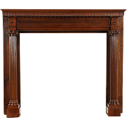 Cherry Classical Fireplace Mantel, Antique 1899 Milwaukee Architectural Salvage