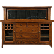 Arts & Crafts Mission Oak 1900 Antique Craftsman Sideboard Server, Mirror