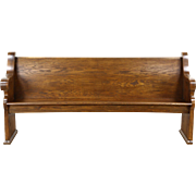 Oak 1900 Antique Carved Pew or Hall Bench