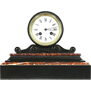French Black & Red Marble Antique 1880 Mantel Clock, Porcelain Dial