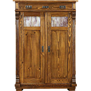 German Arts & Crafts Antique 1900 Pine Pantry Jelly Cupboard, Stained Glass