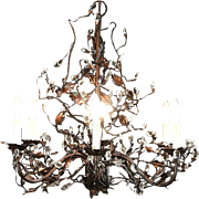 Wrought Iron Vine & Crystal Chandelier, 6 Candles