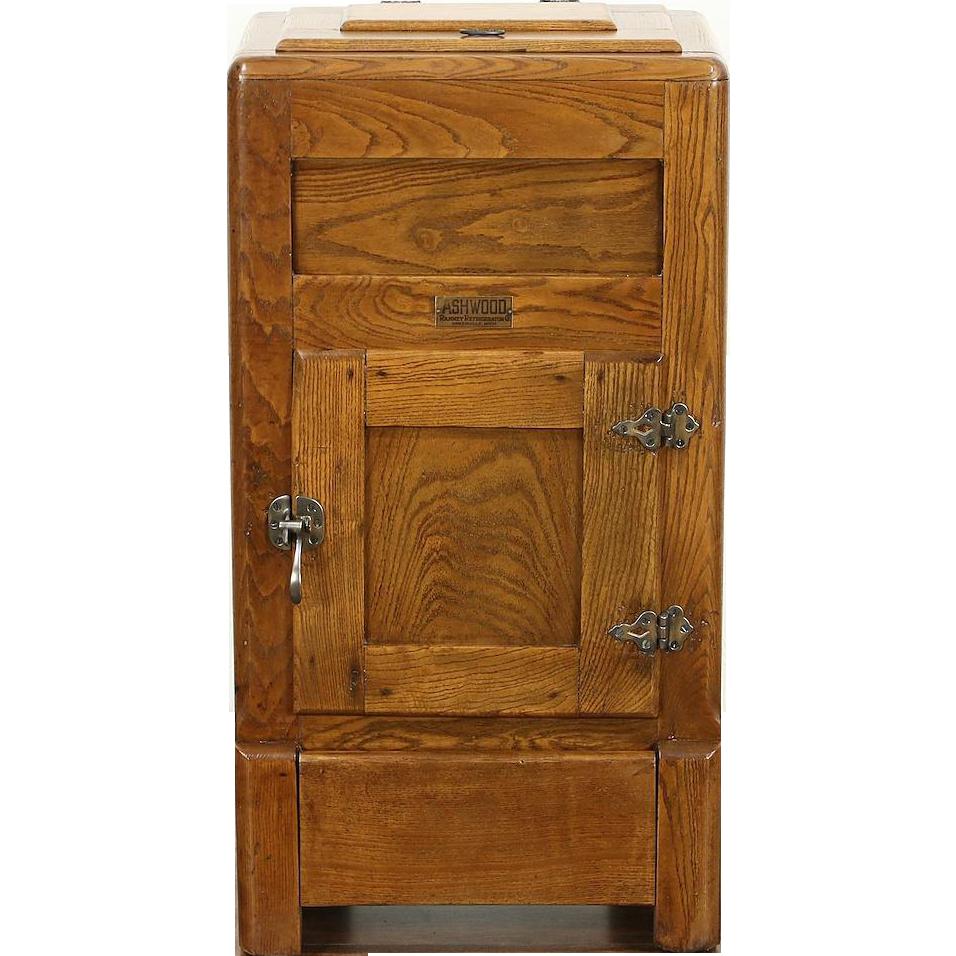 Icebox Ash & Oak 1900 Antique Signed Ashwood by Ranney ...