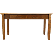 Oak 1915 Antique 5' Craftsman Library Table or Writing Desk, 2 Drawers