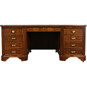 Judge's Traditional Walnut Vintage Oversize Executive Library or Office Desk