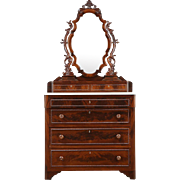 Victorian 1850's Antique Chest or Dresser, Carved Mahogany, Mirror, Marble Top