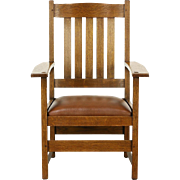 L & JG Stickley Signed Arts & Crafts Mission Oak 1905 Antique Craftsman Chair