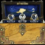 English 1870 Antique Perfume or Scent Bottle Travel Set, Olivewood Case