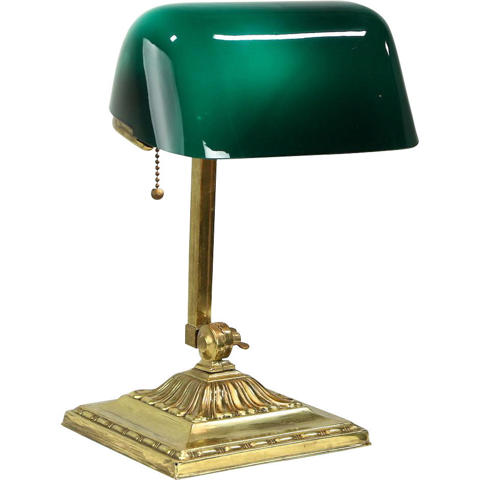 Vintage bankers desk lamp - Emeralite Emerald Green 1916 Pat Antique Brass Banker Desk Or Piano Lamp