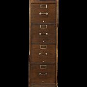 Globe Signed 4 Drawer Quarter Sawn Oak 1920 Antique File Cabinet